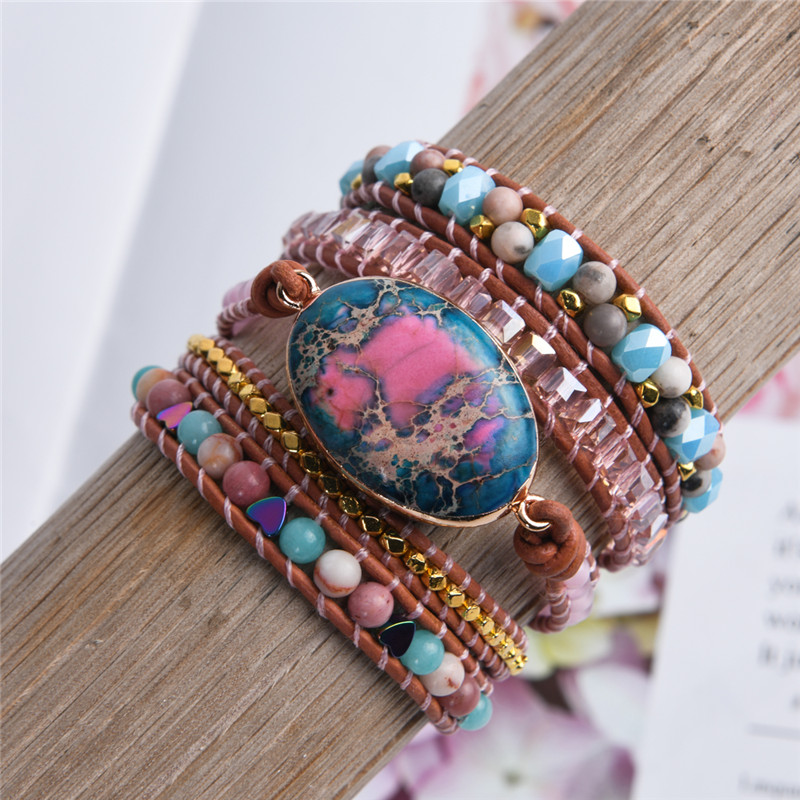 Leather Wrap Bracelet Natural Stone Beaded 5X Layers Statement Art Bracelet Christmas Jewelry Gifts Drop Shipping|Wrap Bracelets|   - AliExpress
