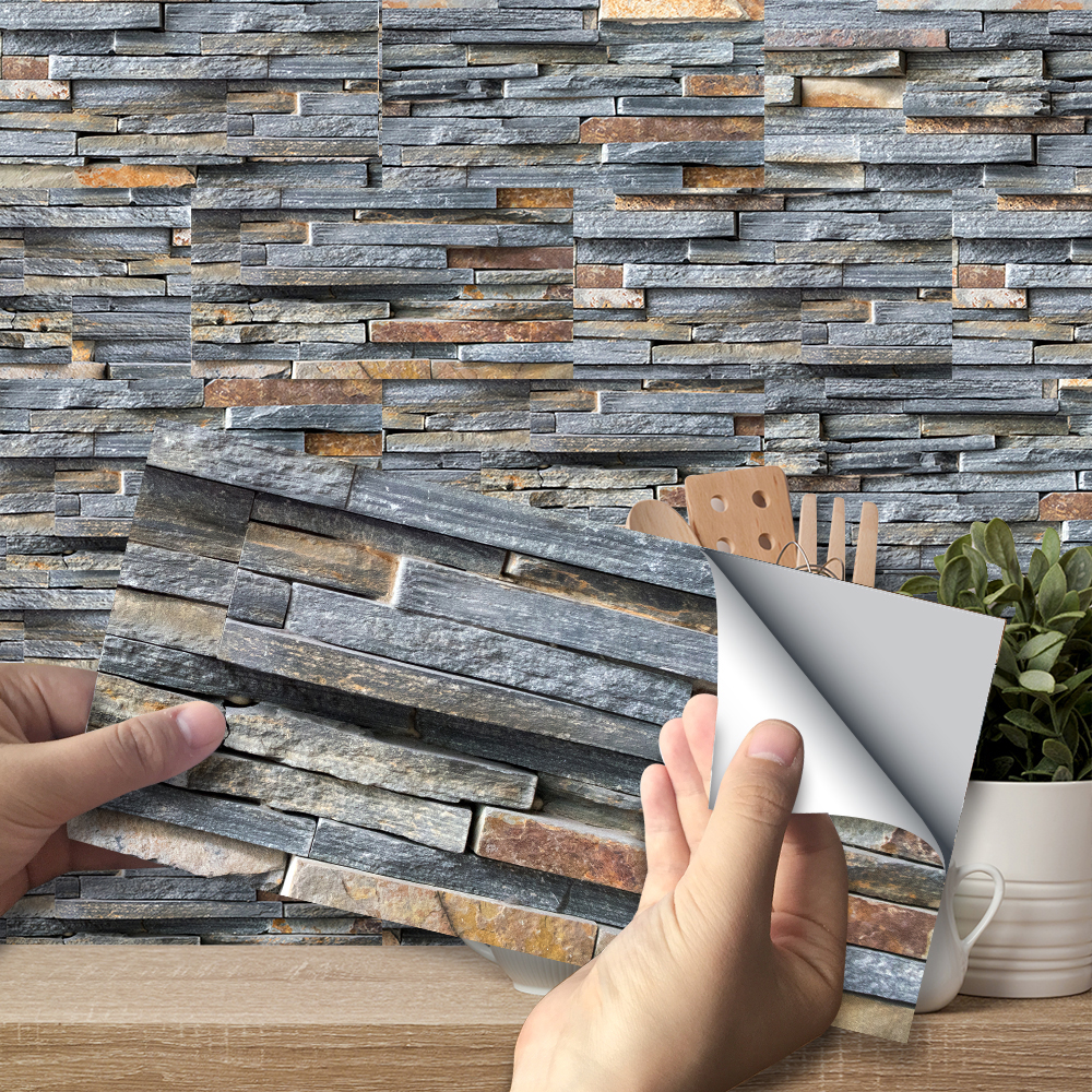 Rustic Stone Brick Wall Stickers Retro Oil-proof Waterproof Tile Wallpaper For Kitchen Bathroom Ground Wall House Decoration