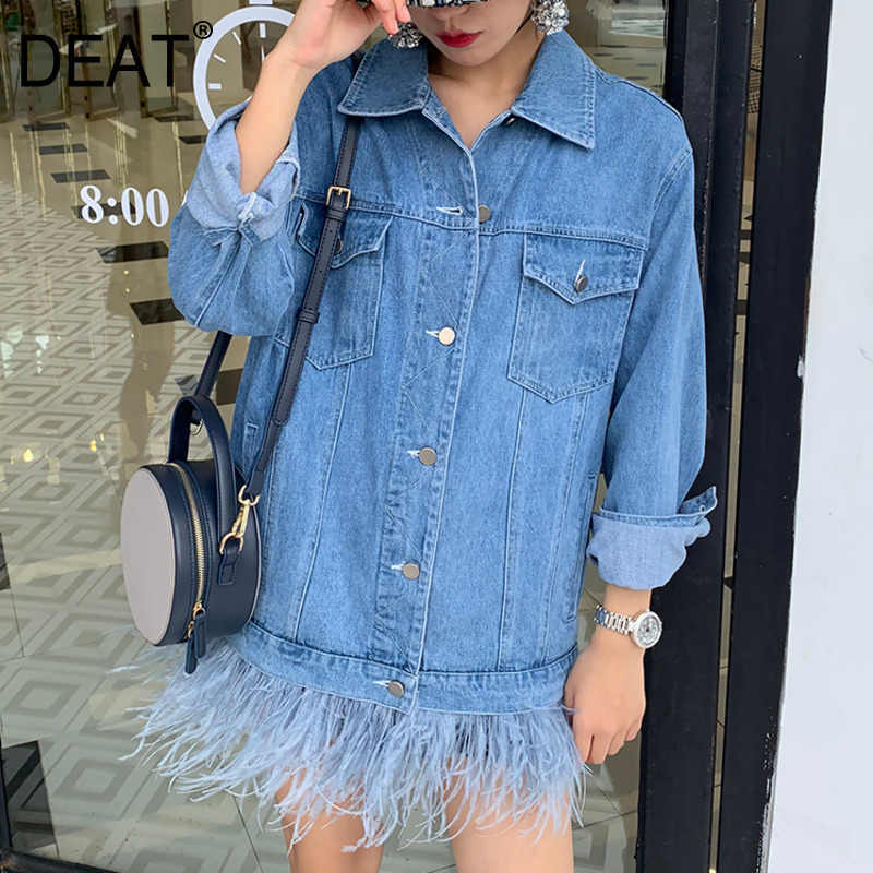 [DEAT] 2019 New Autumn Winter Lapel Long Sleeve Detachable Feather Loose Big Size Denim Jacket Women Coat Fashion Tide 13D635