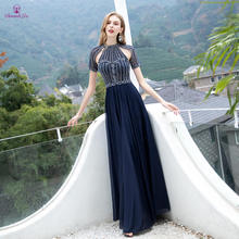 Sparkly Prom Dress Full Beaded Short Sleeves Long Prom Dresses Transparent Floor Length Formal Party Gowns vestido de festa