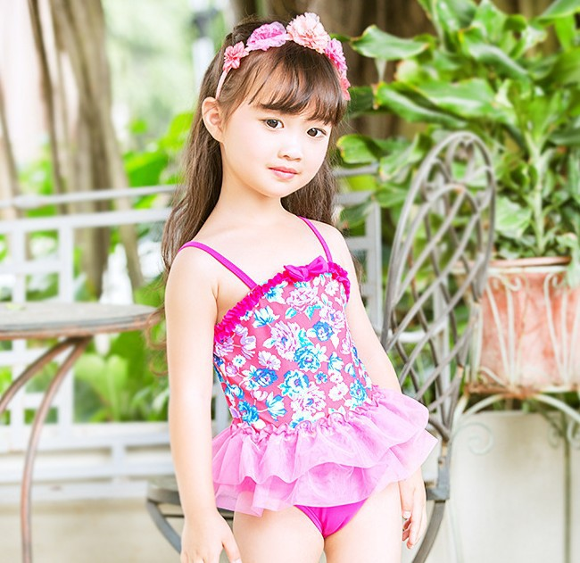 2019 Cool KID'S Swimwear Children Rose-red Floral Camisole Tutu Cute GIRL'S Hot Springs One-piece Swimwear