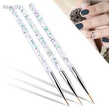 3pcs/set Nail Art Liner Painting Pen Crystal Acrylic Thin Liner Drawing brushes Design Manicure Salon Tool