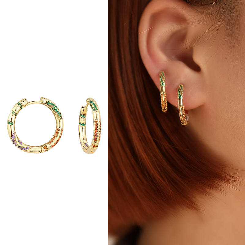 Bohemian Huggies Small Hoops Earrings Fashion Multicolor Round Gold Color AAA Cubic Zircon Circle Ear Ring Jewelry Brincos