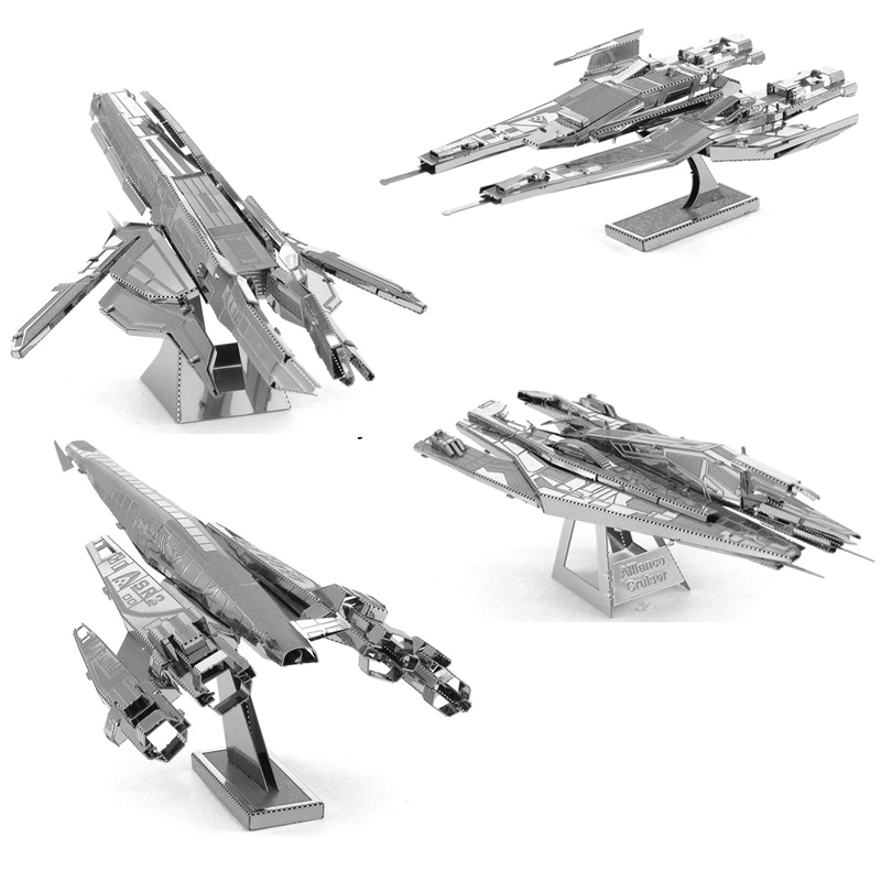 Cheap 3D Metal Puzzle Mass Effect Normandy Model Kits DIY Laser Cut Puzzles Jigsaw Model Educational Toys For Adult Children