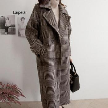 Women Wool Coat Plaid Loose Long Double Breasted Fashion Female Coats Spring Autumn Outerwear 2021 Jackets Trench Oversize fashion women wool coat plaid classics female loose long single breasted coats 2020 autumn winter jackets trench outerwear