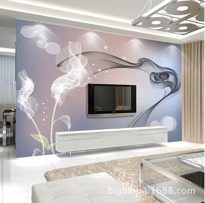 Large Mural Simple 3D Living Room Television Background Wall Wallpaper Non-woven Wallpaper Home And Nine Fish Figure Magnolia