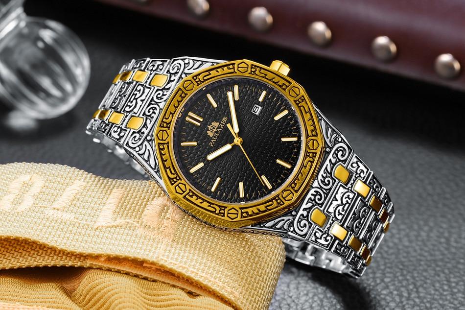 H57569eb24d154844a287a59b8141396fq Men Carved Antique Vintage Luminous Rose Gold Yellow Gold Silver 2 Tones Fashion Blue Classic Quartz luxury watch