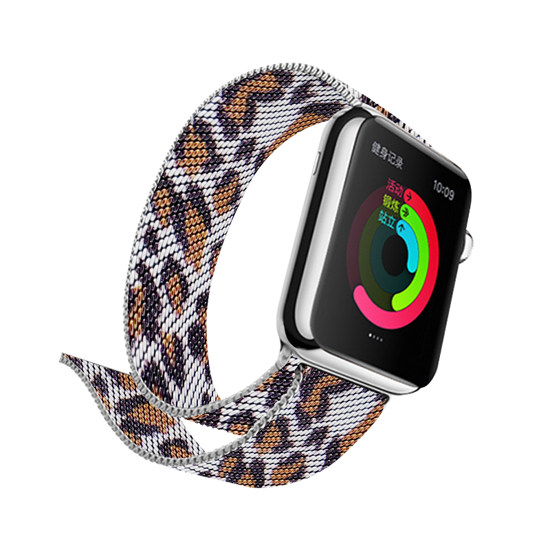 Leopard Tortoise Resin Watches Straps Bands Bracelets For Apple Iwatch 40mm 44mm Stainless Steel Wristwatch Bands Wristwatch Bands