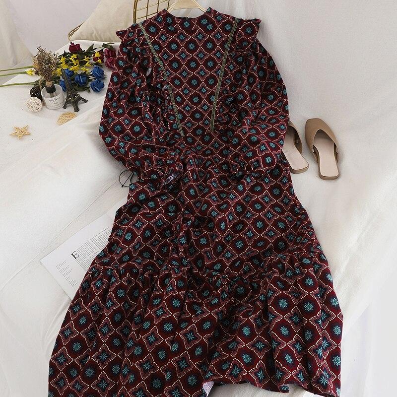 Женское винтажное длинное платье с цветочным принтом Gaganight, повседневное свободное платье с оборками на весну и осень