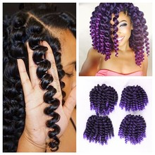 FAVE 8inch Ombre Black Purple Wand Curl Crochet Braids 22 Roots Jamaican Bounce Synthetic Crochet Hair Extension For Black Women(China)