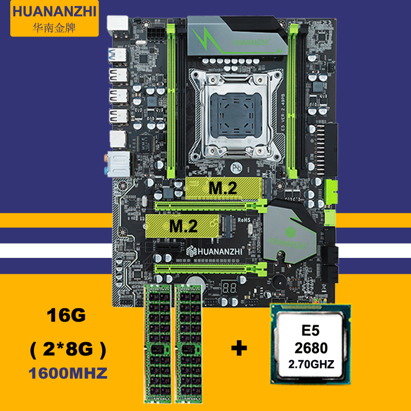 Discount mobo HUANAN ZHI X79 motherboard with M.2 slot CPU Intel Xeon E5 <font><b>2680</b></font> 2.7GHz RAM 16G(2*8G) 1600 REG ECC 2 years warranty image