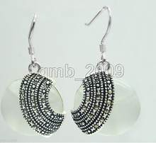 Jewelry Jade Earring handmade 18*18mm white opal Beads 925 Sterling Silver & Marcasite Earrings Free Shipping(China)