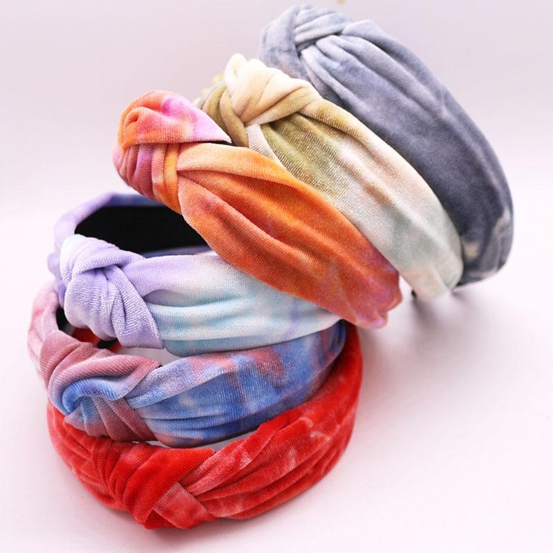 Bohemian Vintage Spring Velvet Tie Dye Hairband Handmade  Headband Customized Hair Accessories