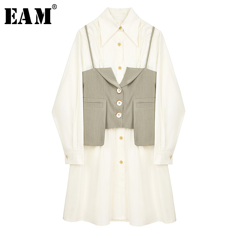 [EAM] Women Beige Plaid Split Joint Temperament Shirt Dress New Lapel Long Sleeve Loose Fit Fashion Spring Summer 2020 1Y296