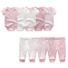 2020 yaz bebek giysileri seti Unisex kısa kollu yenidoğan bebek Bodysuits ve bebek pantolon pamuk 3 12M bebek giyim