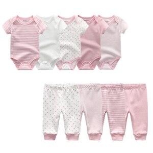 Image 1 - 2020 yaz bebek giysileri seti Unisex kısa kollu yenidoğan bebek Bodysuits ve bebek pantolon pamuk 3 12M bebek giyim