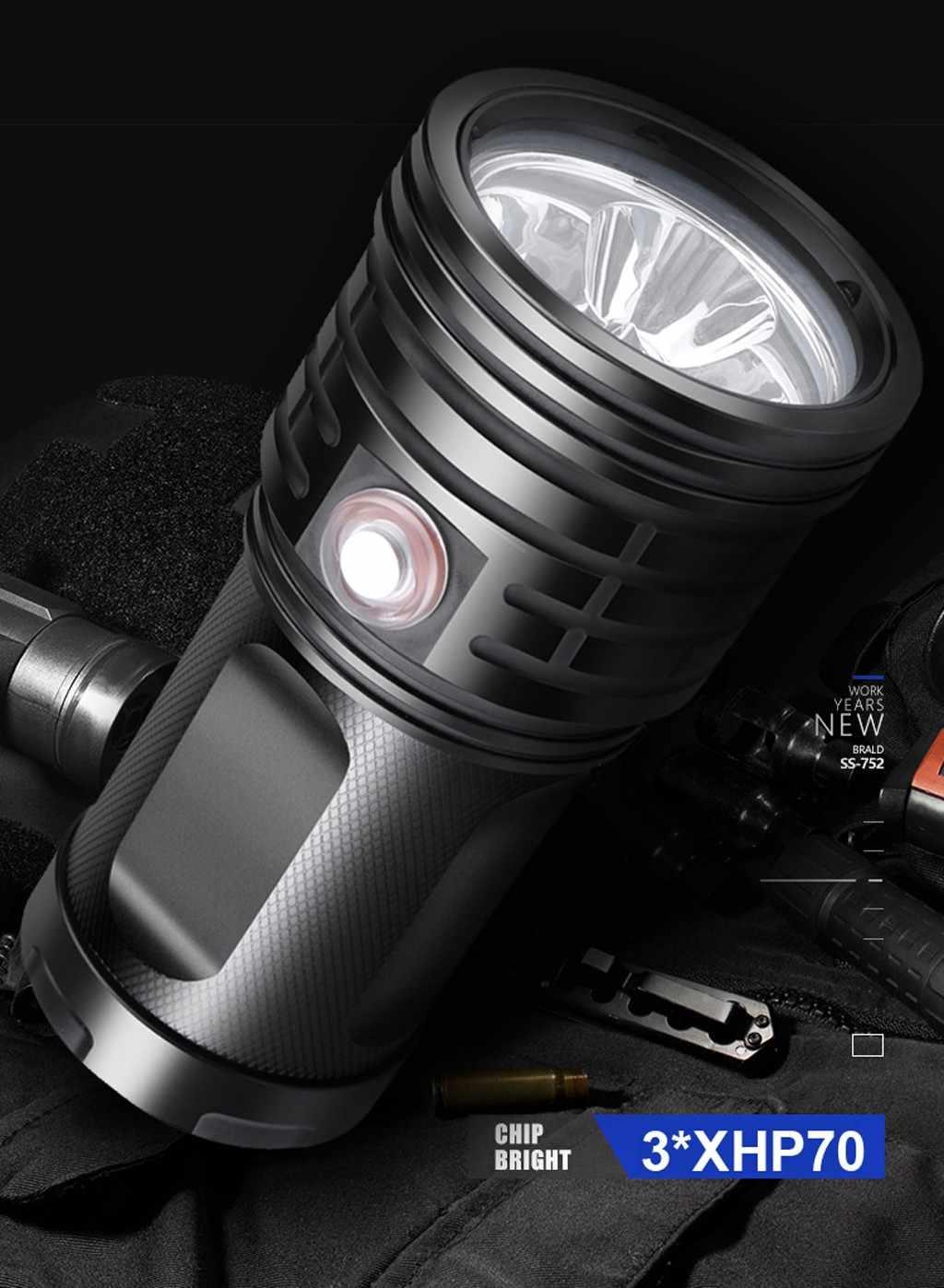 مصباح ليد جيب 3 * XHP70 الشعلة USB قابلة للشحن مصباح مقاوم للماء مشرقا جدا عالية الطاقة المحمولة في الهواء الطلق مصباح وامض للطوارئ