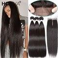 Предварительно окрашенные перуанские прямые волосы с застежкой 34 36 38 40 дюймов, длинные человеческие волосы Remy, пучки 3 пряди застежкой для ж...