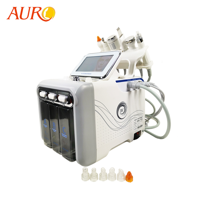AURO 2019 6 In 1 Pro Facial Hydradermabrasion/Water Peel Hydrafacial Microdermabrasion Machine With RF BIO Lifting Skin Scrubber
