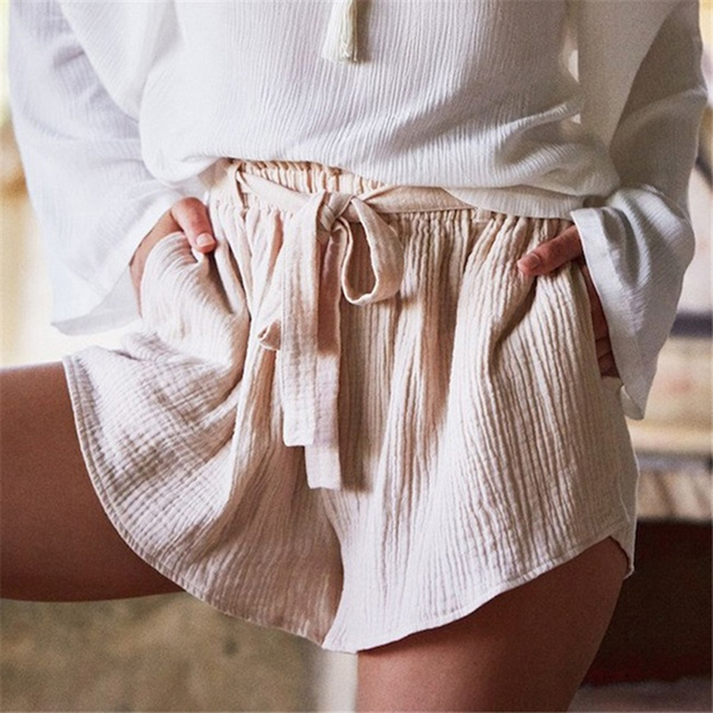 Summer Casual Soft Shorts Fashion Short Trousers Lady Women Cotton Linen lace-up Women Casual Shorts With Belt Soild Color