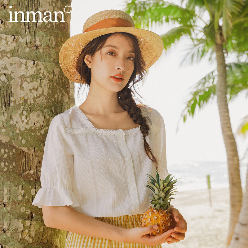 INMAN 2020 Summer New Arriavl Pure Cotton Square-cut Collar Lace French Style Retro Petal Sleeve Blouse