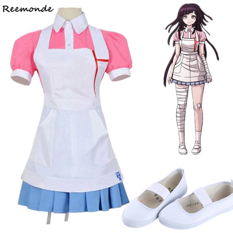 New Dangan Ronpa 2 Mikan Tsumiki Cosplay Costume Danganronpa Wig Suit Top Skirt Pink Apron Dress Woman Shoes Princess Dress Girl