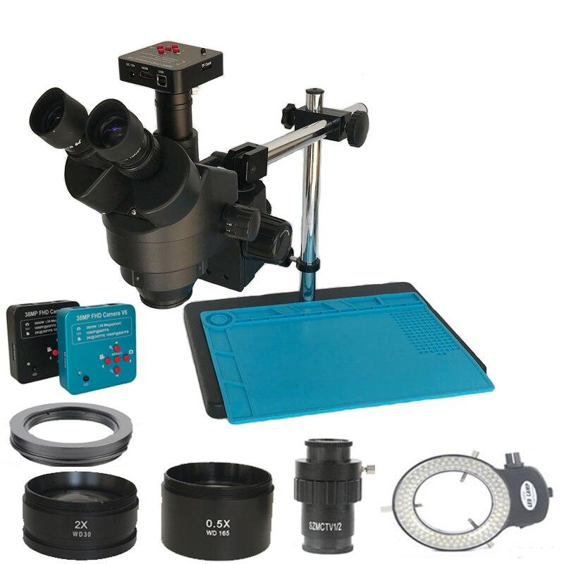 3.5X-90X trinoculaire stéréo Zoom Microscope 38MP HDMI USB vidéo Microscopio caméra soudure industrielle PCB téléphone bijoux réparation
