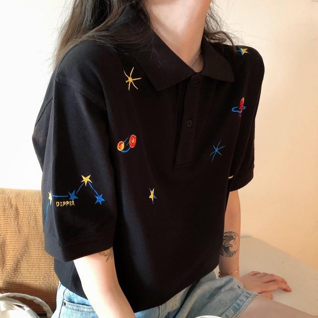 Kadın işlemeli üstleri yaka aşağı kore Polo kısa kollu T shirt T Shirt grafik baskı Tees gömlek büyük boy moda şık