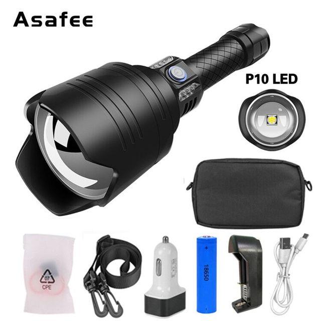 НОВЫЙ Ультра мощный светодиодный светильник P10, светодиодный, масштабируемый, светильник фонарь, USB, перезаряжаемый, водонепроницаемый, ультра яркий фонарик