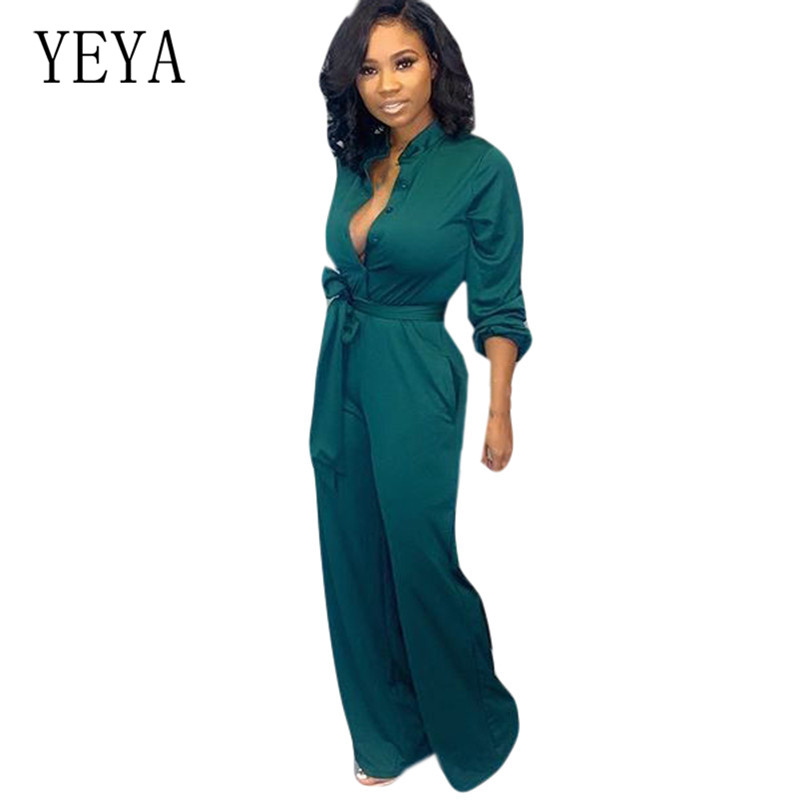 YEYA Women Elegant Office Work Overalls Fasshion Long Sleeve Hollow Out   Jumpsuits   with Belt Femme Casual Loose Playsuits Mujer