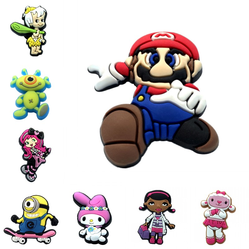 1pcs Classic Cartoon Figure PVC Shoe Charms Mario High Imitation Shoes Accessories Croc Charms JIBZ Shoe Decor Kids Gift