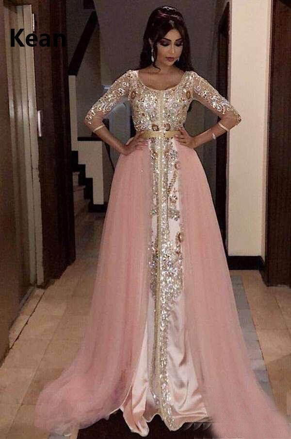 Pink Muslim Evening Dress Full Sleeve Applique Scarf Detachable Train Islamic Dubai Kaftan Saudi Arabic Evening Gown Prom Dress