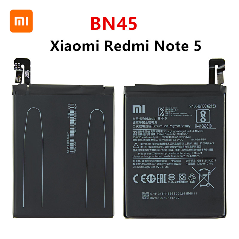 Xiao <font><b>mi</b></font> 100% Orginal BN45 4000mAh <font><b>Battery</b></font> For Xiaomi Redmi Note <font><b>5</b></font> Note5 BN45 High Quality Phone Replacement <font><b>Batteries</b></font> image