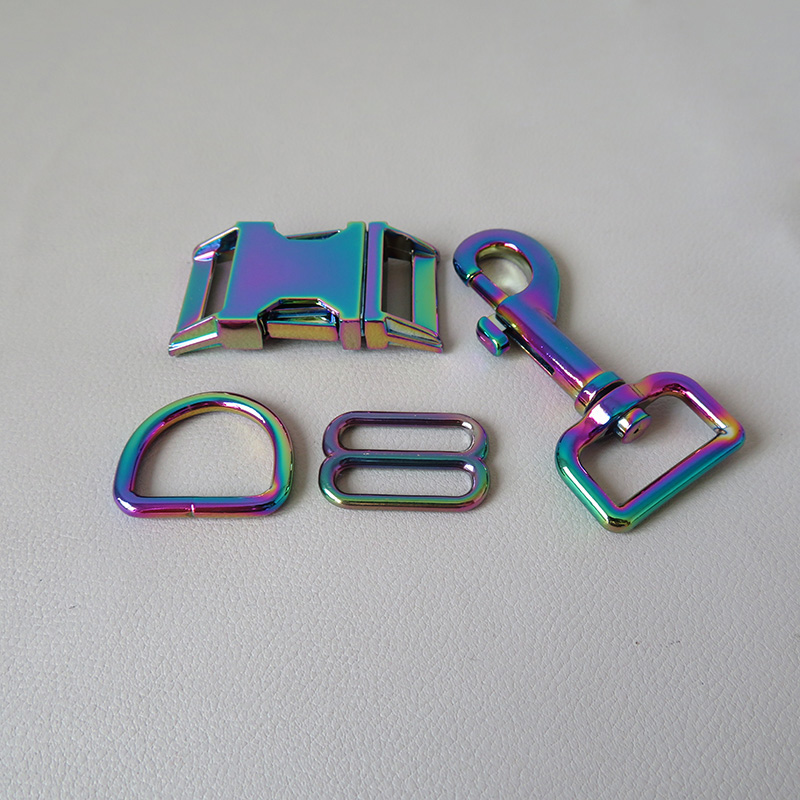 1 Set Rainbow 25mm Metal Straps Slider D Ring Release Belt Buckle Snap Hook Clasp For Dog Collar Pacacord Leash Leads Accessory