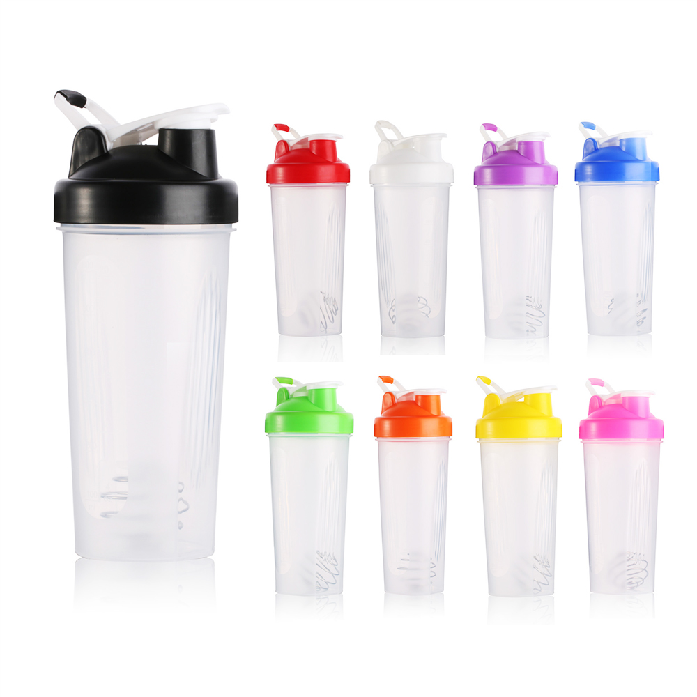 600ml Protable Shaker Bottle Whey Protein Powder Gym Sports Bottle With Stirring Ball Leak Proof Lid BPA Free High Quality image