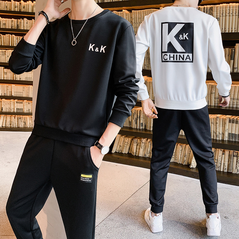 Leisure Suit Men's 2019 Spring Autumn Korean-style Solid Color Men's Casual Two-Piece Set Sports Set Men's Li Now Celebrity Styl
