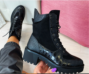 New 2020 Winter Women Boots Square Heel Snakeskin Boots Genuine Leather Lace Up Ankle Boots Plus Size 35-43 Botas Mujer