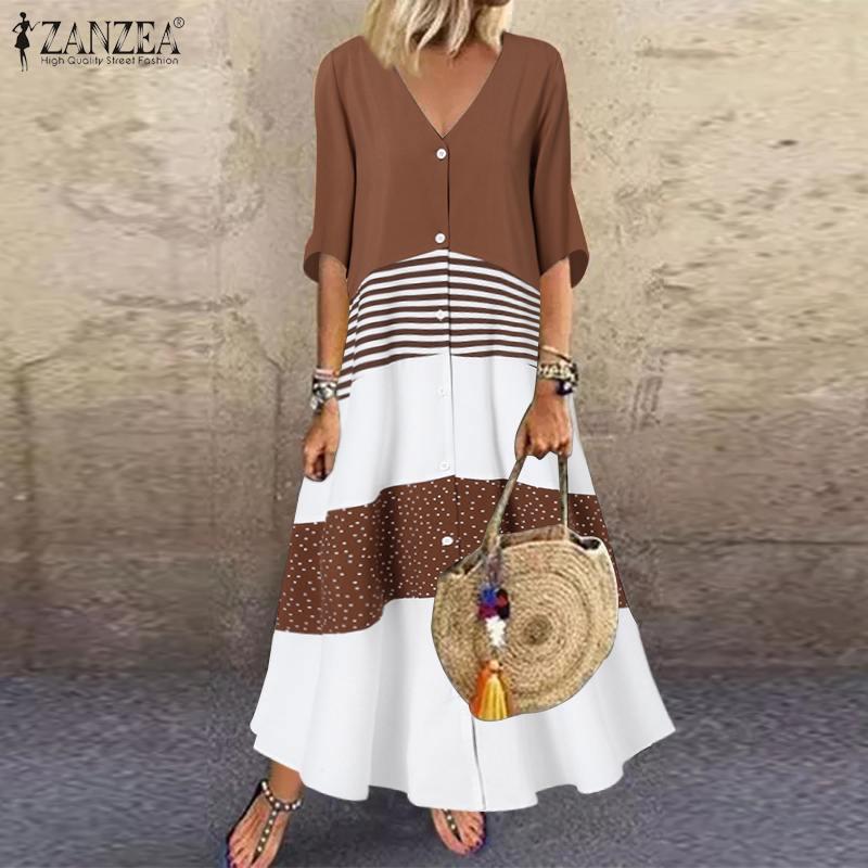 zanzea vintage vocacao robe casual retalhos maxi camisas vestido bolinhas 02