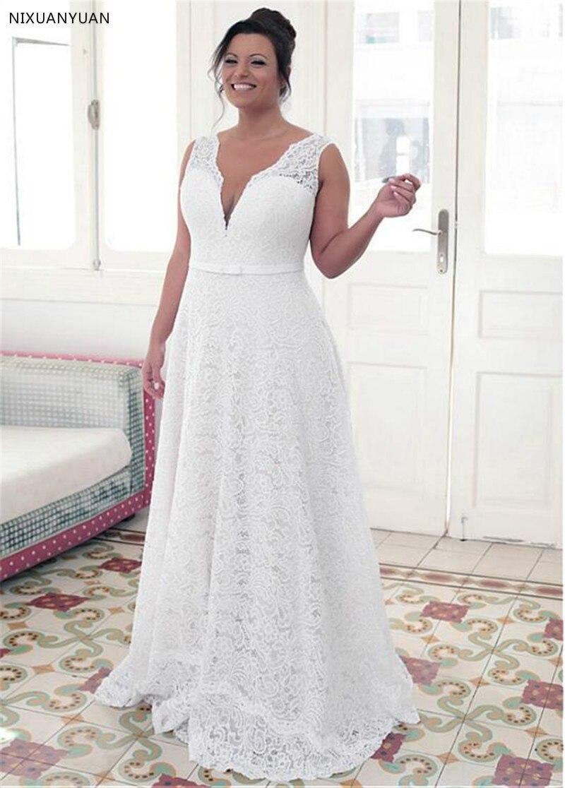 À la mode dentelle bijou décolleté a-ligne grande taille robes de mariée avec Bowknot blanc dentelle 26W robes de mariée