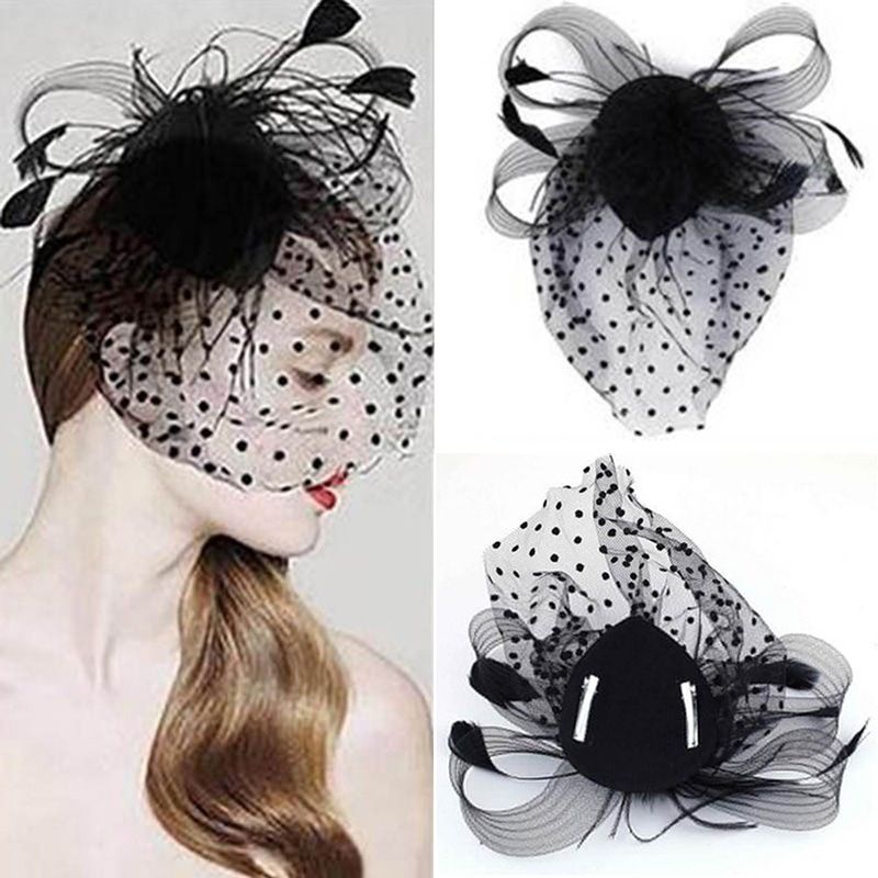 Head Band Hair Accessories Novel Black Party Fascinator  Accessory Feather Clip Hat Flower Lady Veil Wedding Decor
