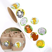 100pcs Jungle Animals Sealing Sticker DIY Gifts Posted Baking Decoration Package Adhesive Seal Label kids Favors 100pcs lot cowhide english word mixed round sealing sticker diy gifts posted baking decoration label