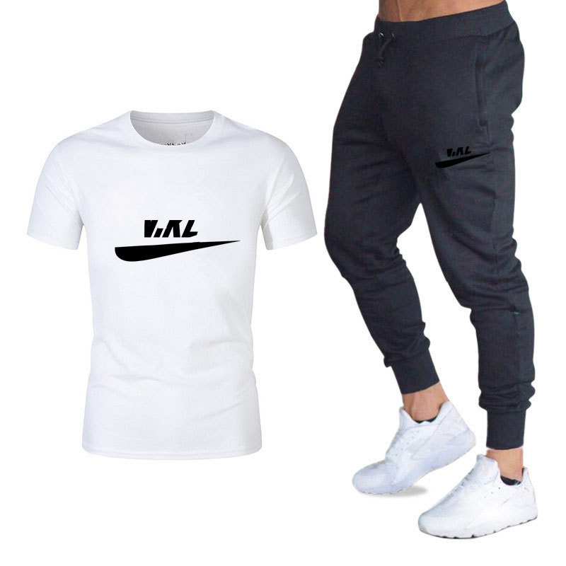 Summer Cotton T-shirt Men's Casual Business Fashion Suit Round Neck Short Sleeve T-shirt + Trousers Men's Sports Suit