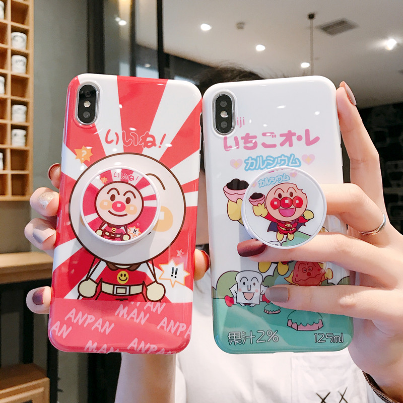 Jamular Cute Anime Cartoon <font><b>Anpanman</b></font> Protection Phone <font><b>Case</b></font> For <font><b>iphone</b></font> X XR XS MAX 6 6s 7 8 Plus Coque Back Cover With Bracket image