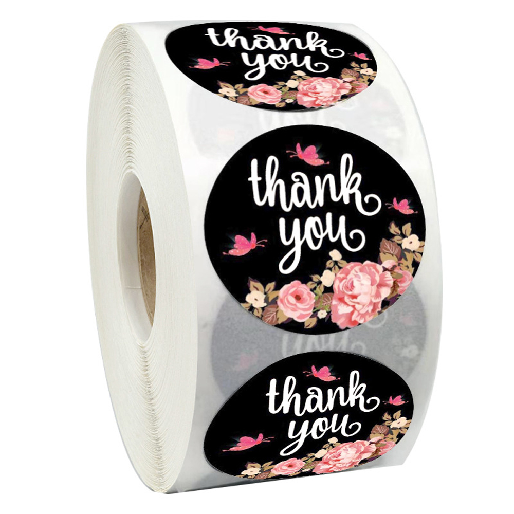 500pcs Round Thank You For Your Order Sticker Floral Thanks For Shopping Small Shop Local Handmade Sticker Print Labels Sticker