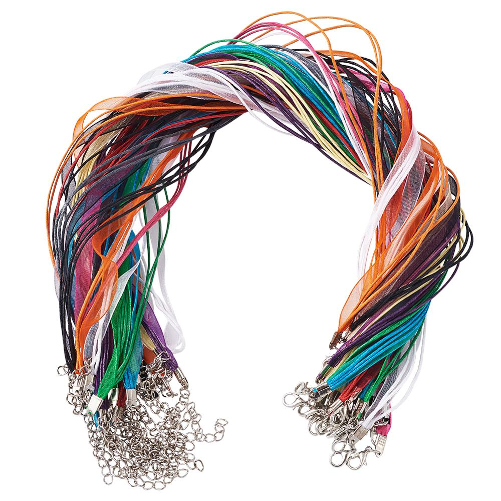 20pcs 430mm Mix Color Jewelry Making Component Accessories Necklace Cord 6mm Organza Ribbon&Cotton Wax Cord & Iron Clasp