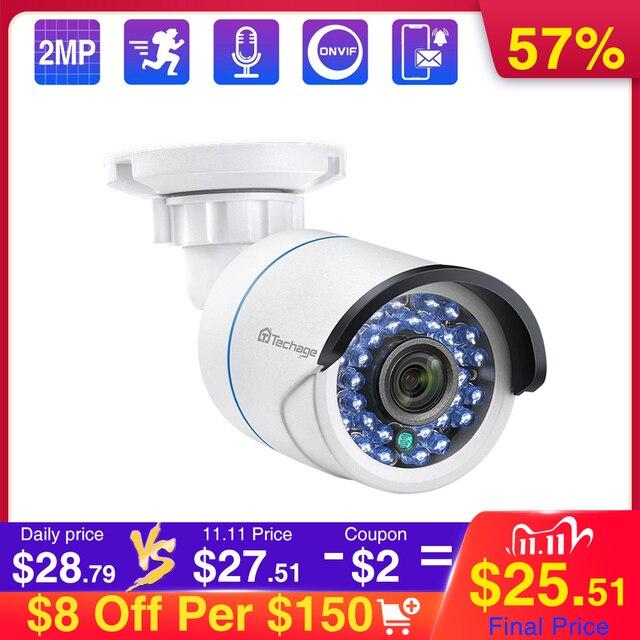 Techage 1080P POEกล้องIP 2MP Onvifกันน้ำกลางแจ้งเสียงความปลอดภัยกล้องวงจรปิดกลางแจ้งIR Night Visionกล้องPOE
