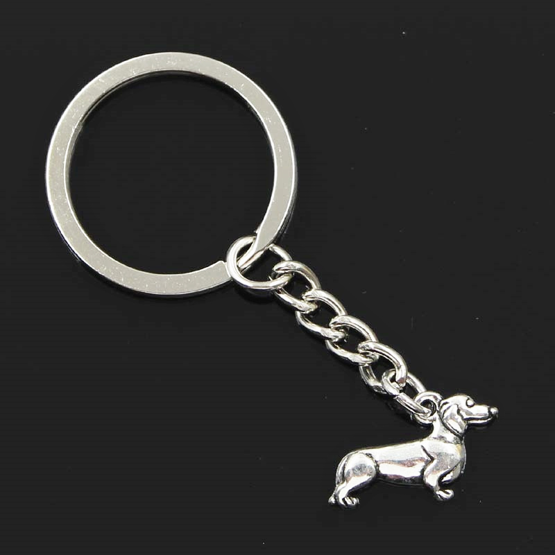 New Fashion Men 30mm Keychain DIY Metal Holder Chain Vintage Dog Dachshund 20x15mm Silver Pendant Gift