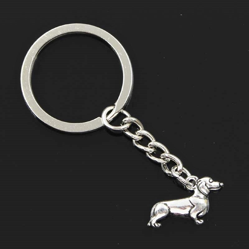 New Fashion Men 30mm Keychain DIY Metal Holder Chain Vintage Dog Dachshund 20x15mm Silver Pendant Gift