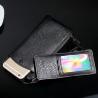 100% genuine leather mobile wallet for iPhone separate card detachable card package for Samsung mobile phone case bag