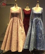 Cömert Dubai akşam elbise kadınlar için 2020 uzun kollu Aline lüks v yaka kristal el yapımı dantel arapça balo örgün parti kıyafeti